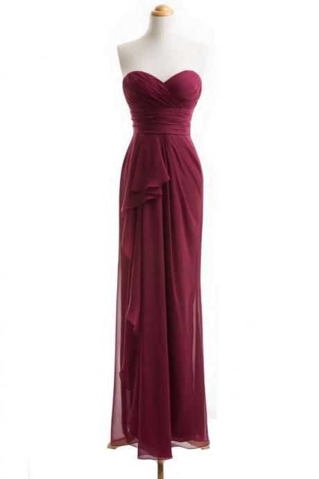 Wine Red Bridesmaid Dress, Long Bridesmaid Dress, Cheap Bridesmaid Dress, Chiffon Bridesmaid Dress, Custom Bridesmaid Dress