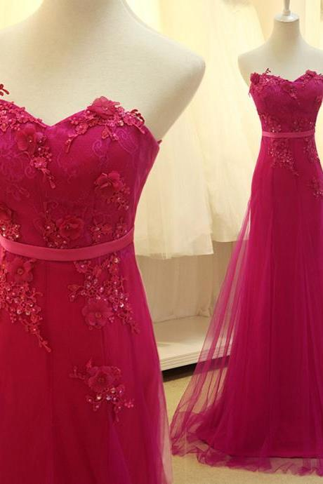 A Line Prom Dress, Fuchsia Prom Dresses, Lace Prom Dress, Long Prom Dress, Beading Prom Dress, Elegant Prom Dress, Tulle Prom Dress, Prom Gowns, Formal Party Dress