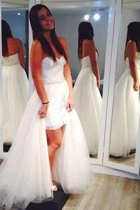 Detachable Wedding Dress, White Wedding Dress, Lace Wedding Dress, Cheap Bridal Dresses, Elegant Bridal Gown, Tulle Wedding Dress