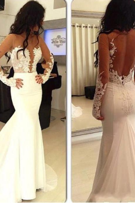 Sexy Wedding Dress, Sheer Back Wedding Dress, Mermaid Wedding Dress, Lace Wedding Dress, Elegant Wedding Dress, Bridal Dress, Bridal Dresses