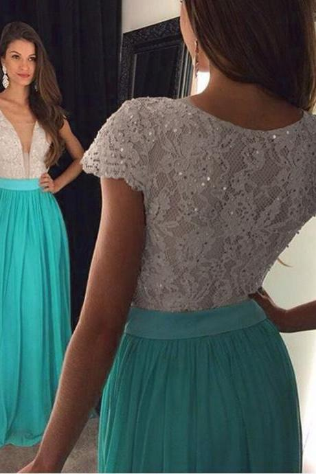 Cap Sleeve Elegant Prom Dress, Lace Beaded Prom Dress, Turquoise Blue Prom Dress, Chiffon Cheap Prom Dress, A Line Prom Gowns, Long Prom Dresses 2017