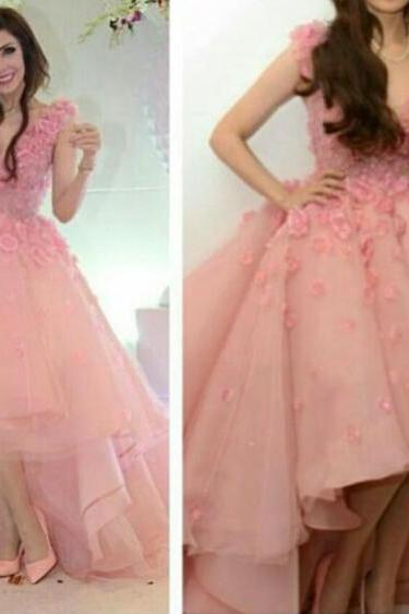 High Low Prom Dress, Pink Prom Dress, Saudi Arabic Prom Dress, Handmade Flower Prom Dress, V Neck Prom Dress, Prom Dresses 2016, Cheap Formal Dresses