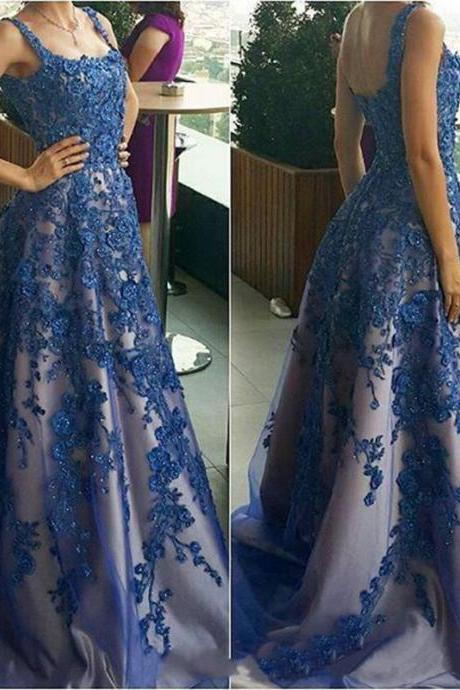 Navy Blue Prom Dress, Luxury Prom Dress, Floral Prom Dress, Rhinestones Prom Dress, Elegant Prom Dress, Off Shoulder Prom Dress, Lace Prom Dress
