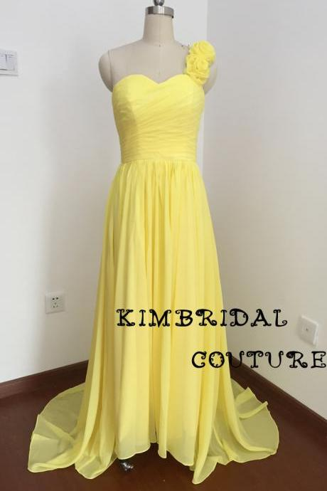 Real Picture Bridesmaid Dreses, Chiffon Evening Dresses, One Shoulder Prom Dresses, Yellow Evening Gowns, 2017 New Arrival Party Dresses, Fashion Party Dresses, Cheap Maid of Honor Dresses, Custom Make Formal Dresses