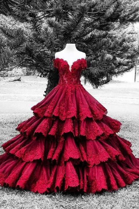 Wine Red Evening Dresses, Sweetheart Prom Dresses, Backless Evening Dresses, Lace Formal Dreses, Tiered Party Dresses, 2017 Special Occasion Dresses, Ball Gown Formal Dresses, Wine Red Women Party Dresses