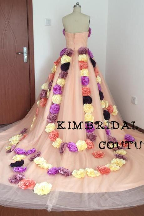 Real Picture Prom Dresses, 3D Flowers Evening Dresses, Sweetheart Evening Gowns, Coral Formal Dresses, 2017 Special Occasion Dresses, Ball Gown Evening Gowns, New Arrival Party Dresses, Fashion Prom Dresses, Actual Image Women Dresses, Court Train Prom Dress