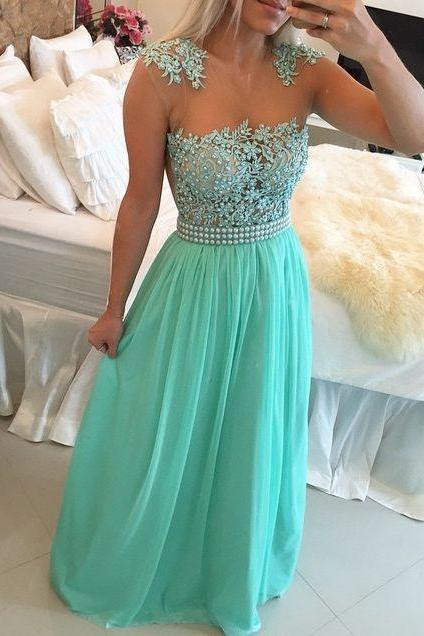 Hunter Green Evening Dresses, Lace Evening Gowns, A Line Evening Dress, Chiffon Formal Dresses, New Arrival Evening Gown, Vestidos de Fiesta 2017, Sheer Bodice Prom Dresses, Custom Make Formal Dresses, Lace Prom Dress, Pearls Women Party Dresses