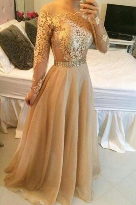 Gold Evening Dresses, Lace Prom Dreses, 2017 Special Occasion Dresses, Vestidos de Fiesta 2017, Gold Evening Dress, Fashion Party Dresses, Chiffon Party Dresses, New Arrival Evening Gowns, Sheer Prom Dress, A Line Special Occasion Dresses