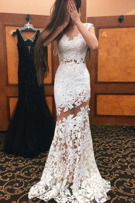 White Evening Dresses, Lace Formal Dresses, Sheer Crew Neckline Evening Dress, Mermaid Prom Dress, Lace Prom Dresses, White Evening Gown, New Arrival Party Dresses, Transparent Sleeve Evening Dresses Gowns, Cap Sleeve Special Occasion Dresses