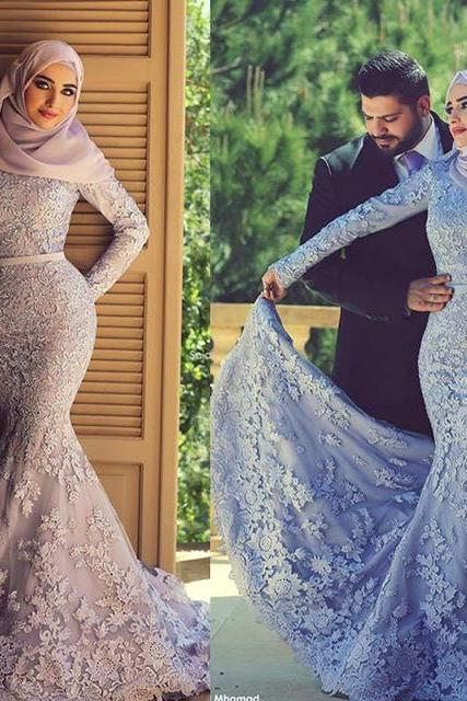 Purple Evening Dress, Long Evening Dress, Elegant Evening Dress, Muslim Evening Dress, Mermaid Evening Dress, 2017 Evening Dress, Lace Evening Dress