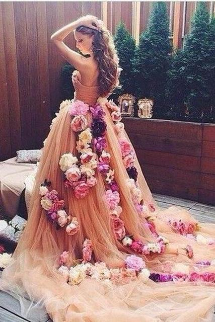 Handmade Flowers Prom Dresses, Champagne Prom Dresses, Long Prom Dresses, Elegant Prom Dress, Tulle Prom Dresses, 2017 Prom Dresses, Cheap Prom Gowns