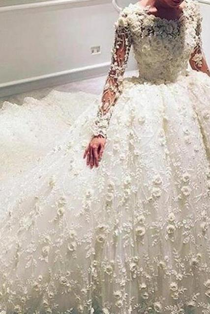 3D Flowers Wedding Ball Gowns, Ivory Wedding Dress, Lace Wedding Dress, Long Sleeve Wedding Dress, Luxury Wedding Dress, Gorgeous Wedding Dress, Princess Wedding Dress, Bridal Ball Gowns 2017