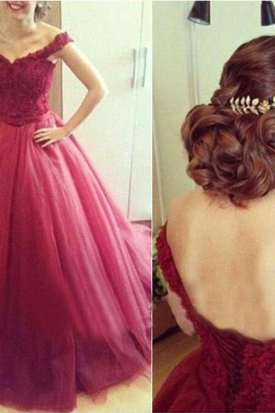Wine Red Prom Dress, Burgundy Prom Dress, Elegant Prom Dress, Lace Prom Dress, V Neck Prom Dress, Prom Dresses 2017, Puffy Prom Dresses