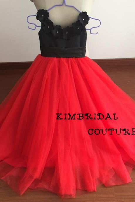 Real Picture Little Flower Girls' Dresses, 2017 Ball Gown Girls Party Dresses, Hand Made Flowers Girls Pageant Dresses, Girls' Speical Occasion Dresses, Little Flower Girls Dresses, Black and Red Little Flower Girl Dresses, Little Girls' Wedding Party Dresses