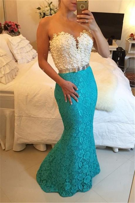 White and Blue Prom Dreses, Lace Party Dresses, 2017 Formal Dresses, Mermaid Prom Dress, Custom Make Evening Dresses, Vestidos de Fiesta, New Arrival Special Occasion Dreses, 2017 Lace Party Dresses