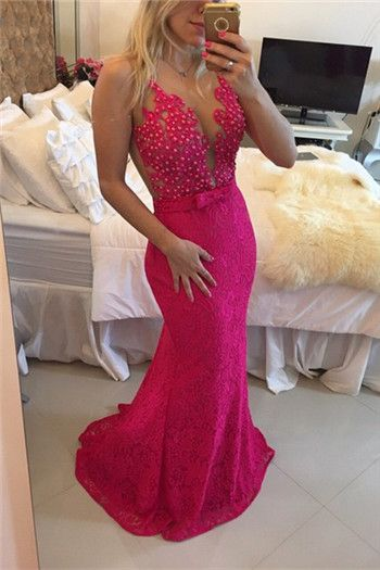 Fuchsia Evening Dresses, Lace Formal Dresses, Custom Make Evening Gowns, Mermaid Formal Dress, Fuchsia Lace Party Dresses, Vestidos de Fiesta, Cheap Evening Gowns, New Arrival Special Occasion Dresses, Mermaid Women Party Dresses
