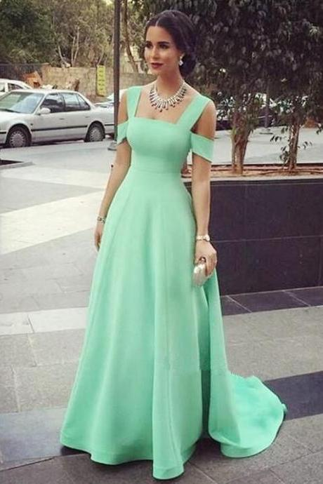 Green Prom Dress, Square Prom Dresses, Satin Evening Dresses, 2017 Special Occasion Dresses, Backless Evening Gowns, A Line Formal Dresses, Custom Make Women Party Dresses, 2017 Evening Gowns