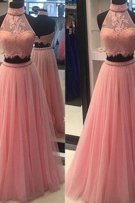 Two Piece Prom Dresses, Lace Prom Dresses, Pink Prom Dress, Fashion Prom Dress, Pink Evening Dresses, Lace Prom Dress, High Neck Evening Dress, Sexy Evening Gowns, Custom Make Evening Dress
