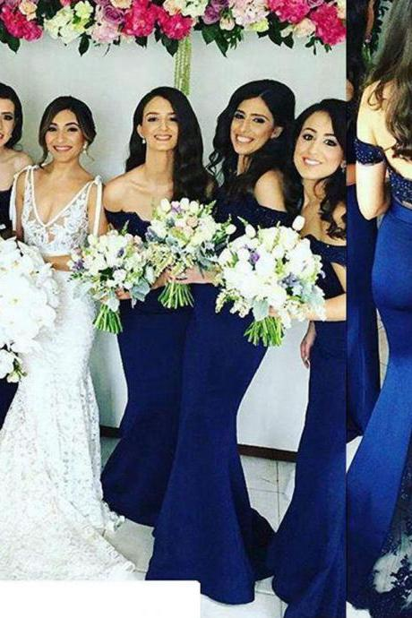 Lace Bridesmaid Dress, Navy Blue Bridesmaid Dress, Cap Sleeve Bridesmaid Dress, Long Bridesmaid Dress, Elegant Bridesmaid Dress, Sexy Bridesmaid Dress, Satin Bridesmaid Dress