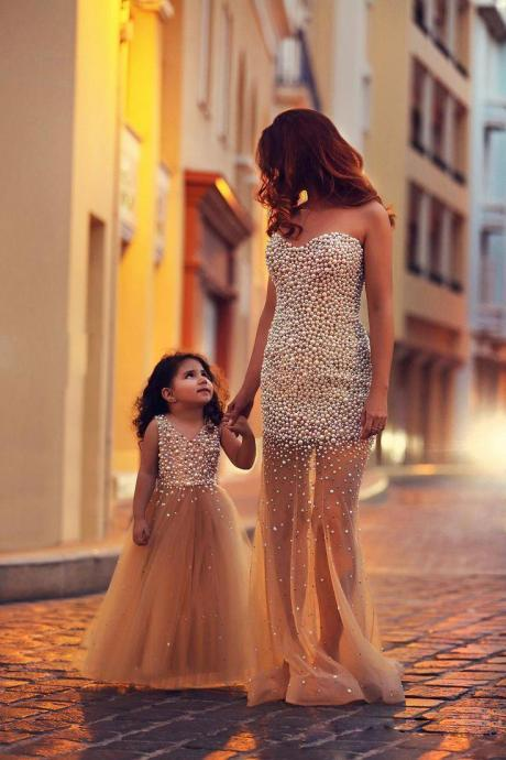 Champagne Evening Dress, Mother Daughter Matching Dresses, Mermaid Evening Dress, Peals Evening Dress, Long Evening Dress, Sexy Evening Dress, Formal Party Dresses(price for two dresses)