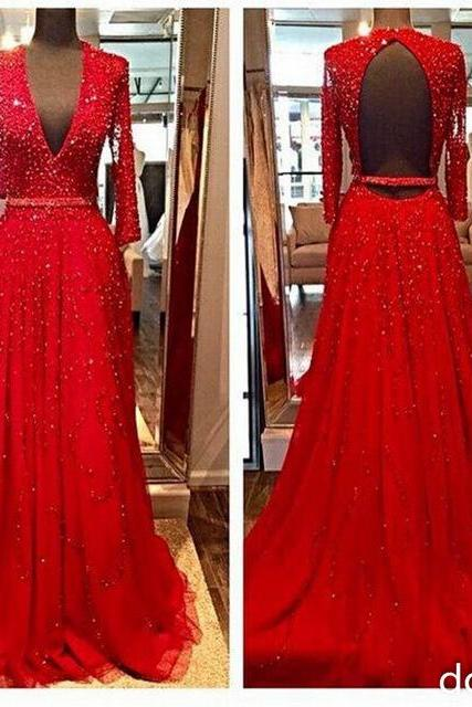 Backless Prom Dress, Long Sleeve Prom Dress, Deep V Neck Prom Dress, Beading Prom Dress, A Line Prom Dress, Luxury Prom Dress, Formal Party Dresses