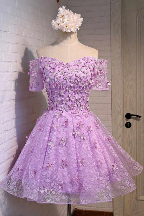 Purple Homecoming Dress, Short Homecoming Dress, Lace Homecoming Dress, 2016 Homecoming Dress, Cheap Homecoming Dress, Half Sleeve Prom Dress, Prom Dresses 2017