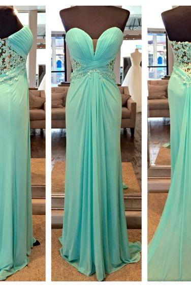 Light Blue Evening Dress, Chiffon Evening Dress, Lace Evening Dress, Cheap Evening Dress, Elegant Evening Dress, Long Evening Dress, Formal Party Dresses, 2017 Evening Dress
