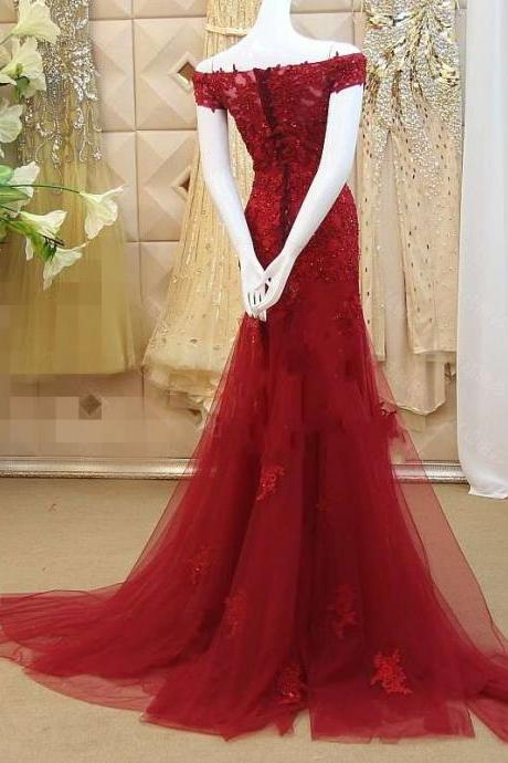 Red Evening Dress, Lace Evening Dress, Beaded Evening Dress, Mermaid Evening Dress, Cap Sleeve Evening Dress, Cheap Formal Dress, Long Evening Dress