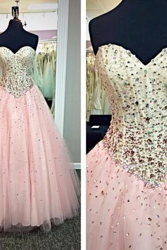 Pink Prom Dresses, Crystals Prom Dress, Tulle Prom Dress, Floor Length Prom Dress, Elegant Prom Dress, Beaded Prom Dress, Cheap Graduation Dresses, Formal Dresses 2017