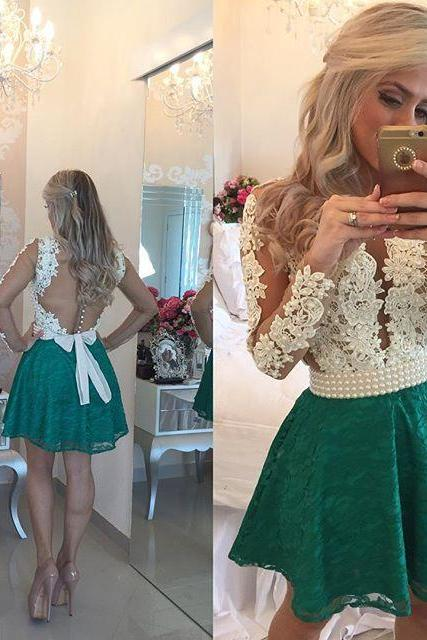 Short Homecoming Dress, Lace Homecoming Dress, Green Homecoming Dress, Cheap Prom Dress, Lace Prom Dress, Elegant Prom Dress, Graduation Dresses Short, Peals Prom Dress, 2016 Prom Gowns