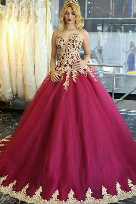 Wine Red Prom Dresses, Gold Lace Prom Dresses, Prom Ball Gown, Vintage Prom Dresses, Princess Prom Dresses, Gorgeous Prom Dresses, 2017 New Arrival Prom Dress