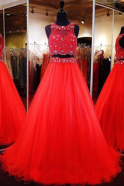 2 Piece Prom Dresses, Red Prom Dresses, A Line Prom Dress, Beaded Prom Dress, Tulle Prom Dress, Sexy Formal Dress, Senior Formal Dress, Prom Dresses 2017
