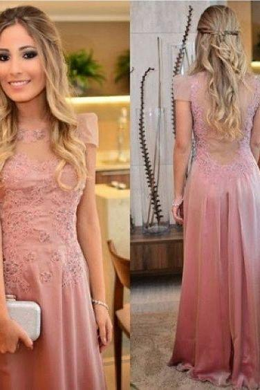 Dusty Pink Prom Dress, A Line Prom Dress, Lace Prom Dress, Gorgeous Prom Dress, Women Formal Dress, Elegant Prom Dress, Prom Dresses 2017, Long Prom Dress