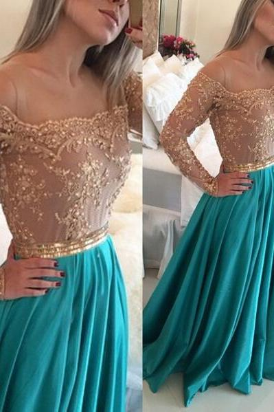 Green Prom Dress, Off The Shoulder Prom Dress, Long Sleeve Prom Dress, A Line Prom Dress, Prom Dresses 2017, Gold Lace Prom Dress