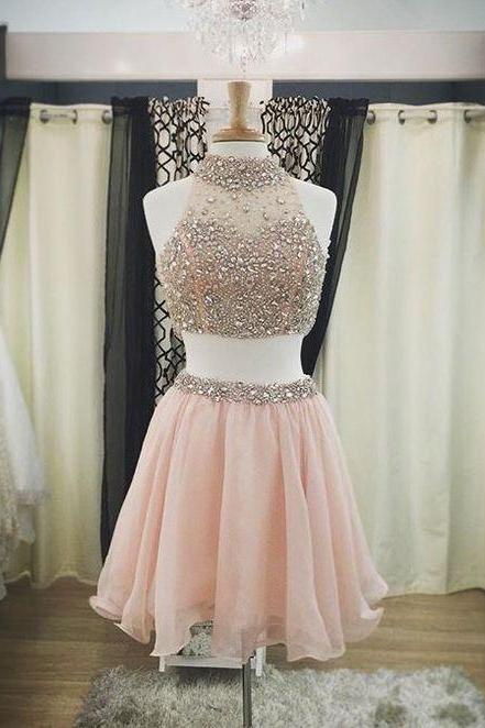 2 Piece Prom Dresses, Crystals Prom Dresses, High Neck Prom Dresses, Beaded Prom Dresses, Sexy Homecoming Dress, Pink Homecoming Dresses, Short Prom Dresses, Cheap Cocktail Party Dresses