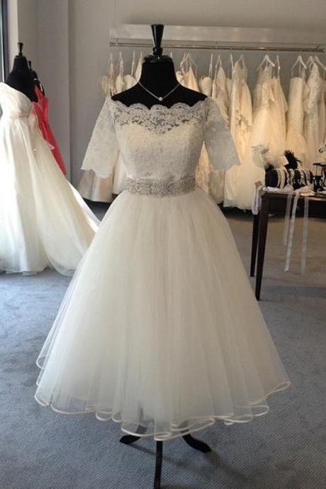 Short Wedding Dresses, Lace Wedding Dress, Tulle Wedding Dress, A Line Wedding Dress, Elegant Wedding Dress, Cheap Wedding Dress, Wedding Dresses 2017, Cheap Bridal Gowns