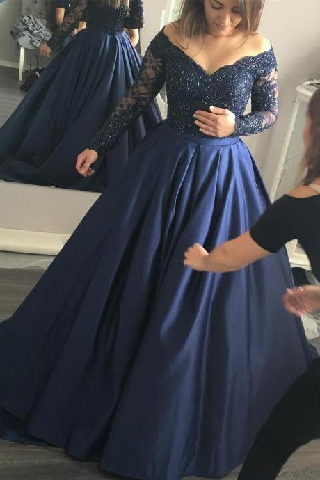 A Line Prom Dress, Navy Blue Prom Dress, Elegant Prom Dress, Vintage Prom Dress, Floor Length Prom Dress, Lace Prom Dress, Rhinestones Prom Dresses, Gorgeous Prom Gowns