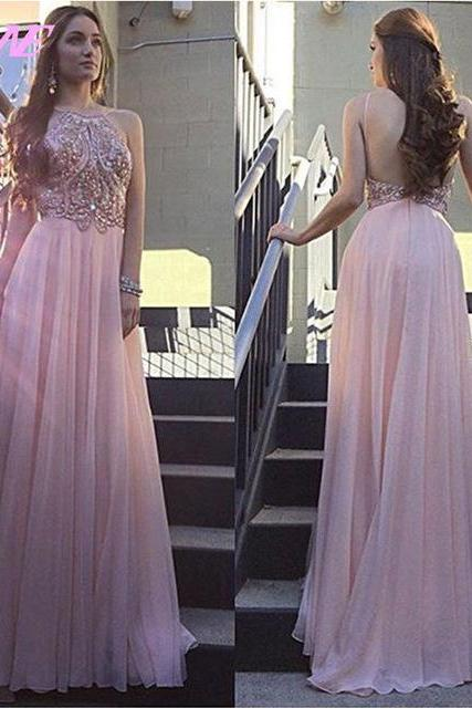 Halter Prom Dress, Rhinestones Prom Dress, Backless Prom Dress, Long Prom Dress, Chiffon Prom Dress, A Line Prom Dress, Prom Dresses 2017, Sparkly Prom Dress, Women Formal Dresses