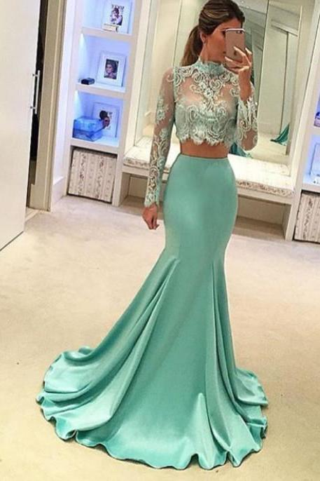Mint Green Evening Dress, High Neck Evening Dress, Long Evening Dress, Lace Evening Dress, Mermaid Evening Dress, Long Sleeve Evening Dress, Elegant Evening Dress, Cheap Evening Dress, 2 Piece Prom Dresses