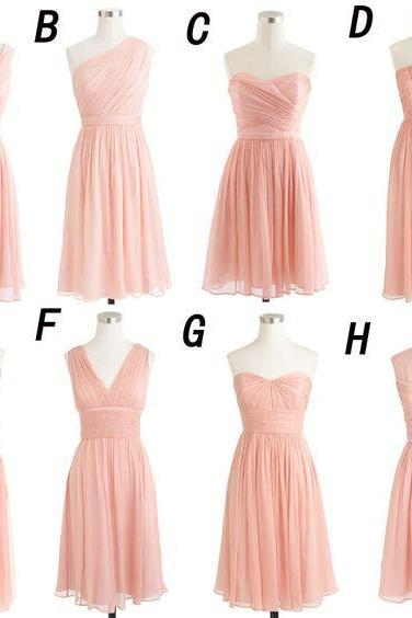 Blush Pink Bridesmaid Dress, Mismatched Bridesmaid Dress, Short Bridesmaid Dress, Cheap Bridesmaid Dress, Junior Bridesmaid Dress, Wedding Party Dress, Chiffon Bridesmaid Dress