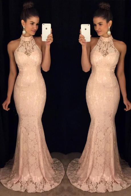 High Neck Evening Dress, Lace Evening Dress, Mermaid Evening Dress, Long Evening Dress, Cheap Evening Dress, Elegant Evening Dress, Pink Evening Dress, Evening Dresses 2017, 2017 New Arrival Formal Dress