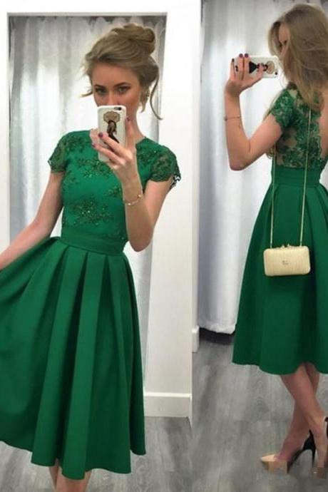 Green Prom Dress, Hunter Green Prom Dress, Lace Applique Prom Dress, Beaded Prom Dress, Satin Prom Dress, Prom Dresses 2017, Cheap Prom Dress, Short Prom Dress