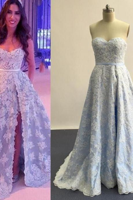 Blue Prom Dress, Lace Prom Dress, Rhinestones Prom Dress, Floor Length Prom Dress, Saudi Arabic Evening Gowns, Elegant Prom Dress, Glitter Prom Dress, Applique Prom Gown