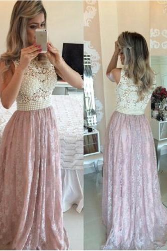 Lace Prom Dress, Peals Prom Dress, Pink Prom Dress, Elegant Prom Dress, Long Prom Dress, A Line Prom Dress, Prom Dresses Long, Women Formal Party Dress