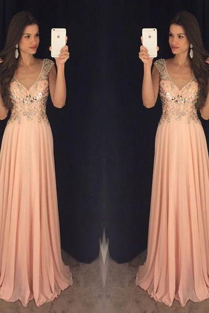 Cap Sleeve Prom Dress, Chiffon Prom Dress, A Line Prom Dress, Crystals Prom Dress, Luxury Prom Gown, Long Prom Dress, Pink Prom Dress, Senior Formal Dresses, 2017 New Arrival Formal Dress