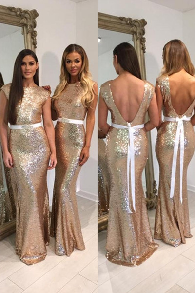 Mermaid Bridesmaid Dress, Gold Sequin Bridesmaid Dress, Long Bridesmaid Dress, Sparkly Bridesmaid Dress, Cheap Bridesmaid Dress, Bridesmaid Dresses 2017, Sexy Formal Party Dress, Wedding Guest Dresses