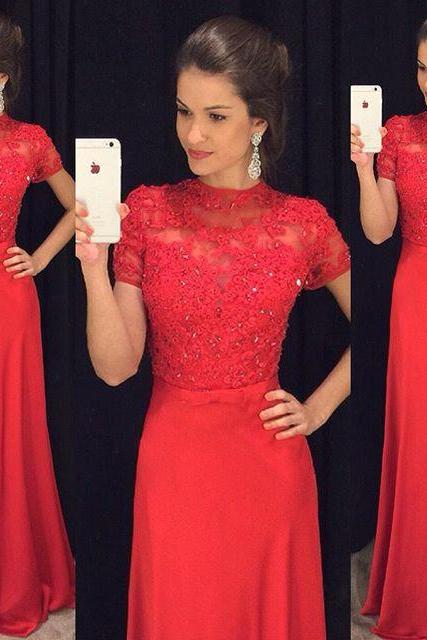 Red Prom Dress, Short Sleeve Prom Dress, A Line Prom Dress, Chiffon Prom Dress, Lace Prom Dress, Beaded Prom Dress, Rhinestones Prom Dress, Prom Dresses 2017, Long Prom Dress