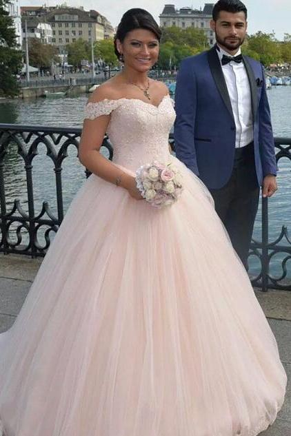 Pink Prom Dress, Lace Prom Dress, Prom Ball Gown, Tulle Prom Dress, Prom Dresses 2017, Floor Length Prom Dress, Puffy Prom Dress, Elegant Prom Dress