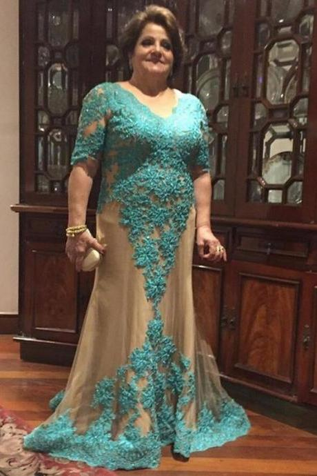 Plus Size Prom Dress, Turquoise Blue Prom Dress, Beaded Prom Dress, Long Prom Dress, Mother Of The Bride Dresses, V Neck Prom Dress, Long Sleeve Prom Dress, Elegant Prom Dress, Prom Dresses 2017