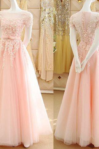 Pink Prom Dress, Floral Prom Dress, Beads Prom Dress, Long Prom Dress, Tulle Prom Dress, Gorgeous Prom Dress, Elegant Prom Dress, Floor Length Prom Dress, Lace Prom Dress